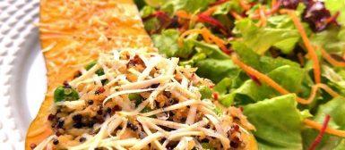 Abóbora recheada com quinoa e frango
