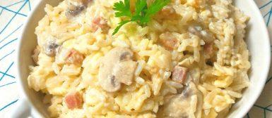 Arroz à Piemontese (cremoso com queijo e cogumelos)