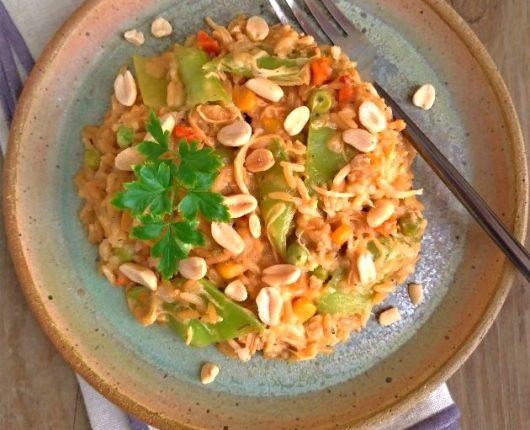 Arroz cremoso com frango e legumes