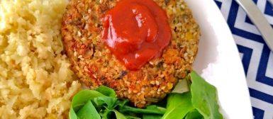 Burguer de lentilha com gergelim (vegano)