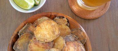 Chips de jiló bem crocantes