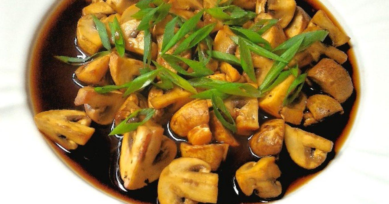 Cogumelosassados com shoyo e gengibre