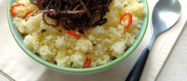 Cuscuz marroquino com palmito, pimenta e cebola tostada