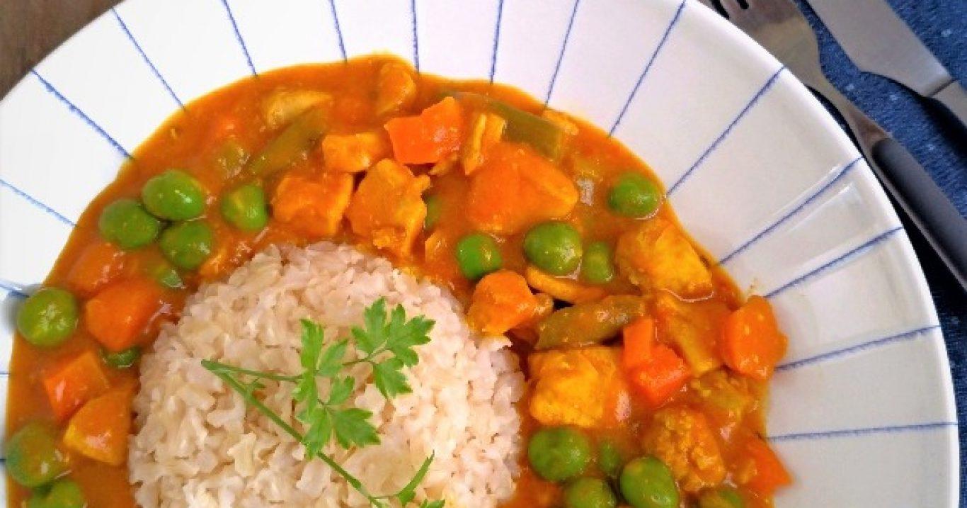 Frango ao curry com legumes