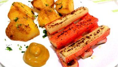 Kani grelhado ao molho de mostarda e mel com batatas ao forno