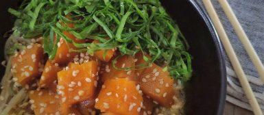 Moyashi com abóbora cozida e couve