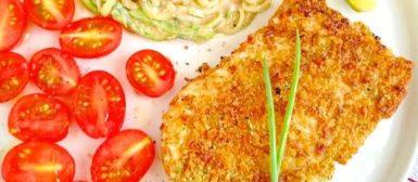 Filé de peixe empanado com farofa de oleaginosas