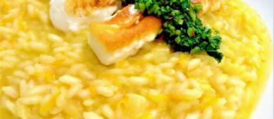 Risoto de cenoura na pressão com queijo grelhado