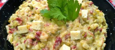 Rubacão (arroz com feijão verde, charque, queijo coalho e nata)