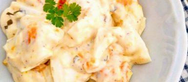 Salada de ovos com maionese caseira a jato