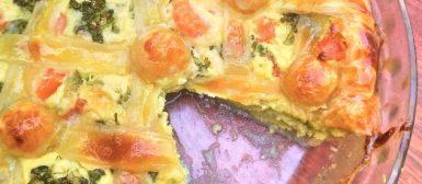 Torta de brócolis com creme de queijo e massa folhada