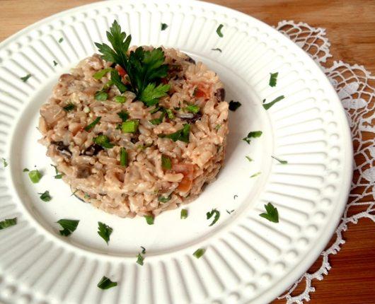 Arroz cremoso com shitake (calorias reduzidas, quente ou frio)