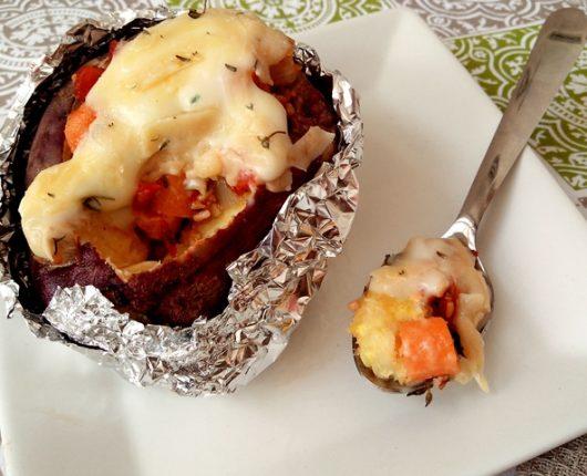 Batata doce assada e recheada (no microondas)