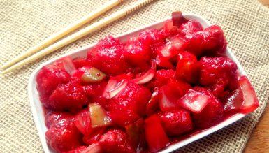 Frango ou lombo agridoce chinês (empanado e com molho agridoce)
