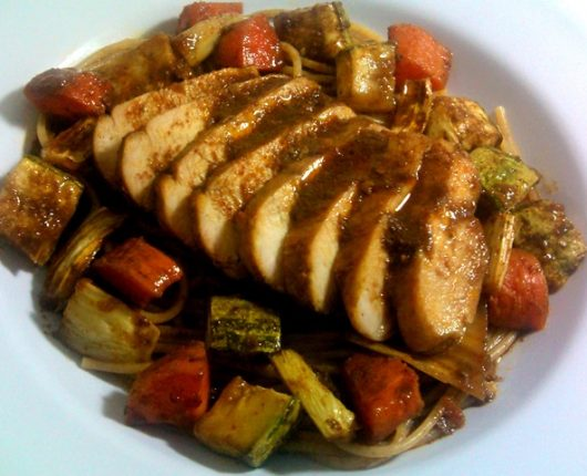 Filé de frango especial com legumes