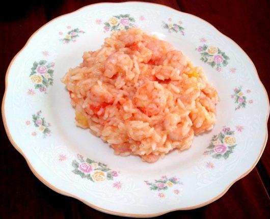 Risoto cremoso de camarão