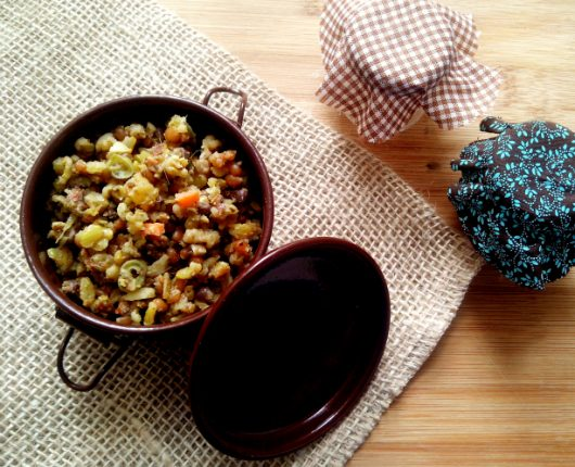 Mix de grãos à indiana (com legumes, gengibre e especiarias)