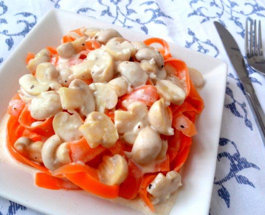 Talharim de cenoura com (ou sem) cogumelos (calorias reduzidas)