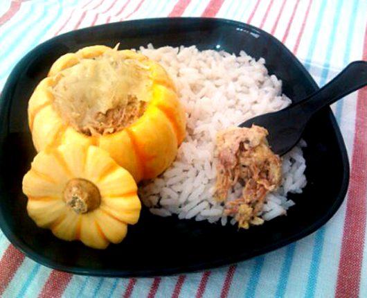 Carne seca com requeijão na mini abóbora (pumpkino)