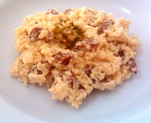 Falso risoto de linguiça e cream cheese