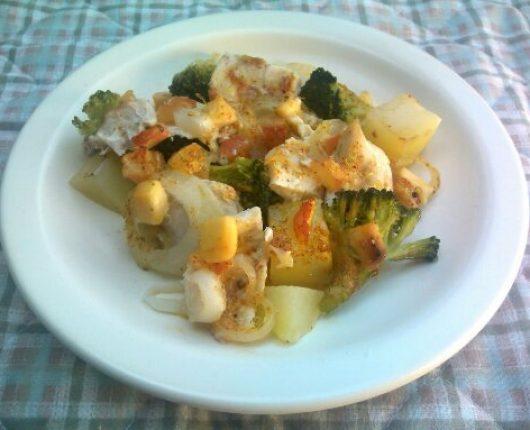 Miscelânea de frango com legumes ao forno (calorias reduzidas)